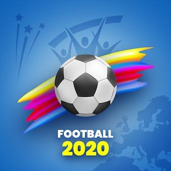 . fundo azul com bola de futebol e traço de tinta colorida. silhueta de fãs e mapa da europa. ilustração.