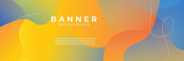 Fundo azul com composição de cores laranja e amarelo em abstrato. fundos abstratos com uma combinação de linhas e círculos podem ser usados para seus banners de anúncios, modelo de banner de venda e muito mais.