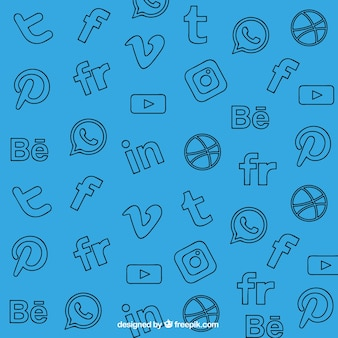Fundo azul com decorativos redes sociais ícones
