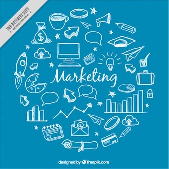 Fundo azul com doodles de marketing brancas