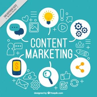 Fundo azul com elementos de marketing
