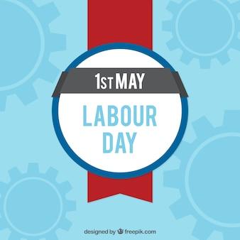 Fundo azul com emblema para o dia do trabalhador