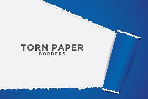 Fundo azul com estilo de papel rasgado