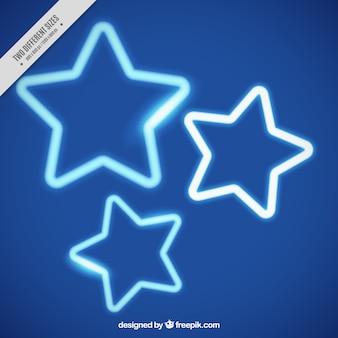 Fundo azul com estrelas de néon
