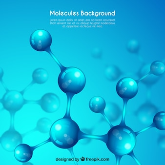 Fundo azul com estruturas moleculares