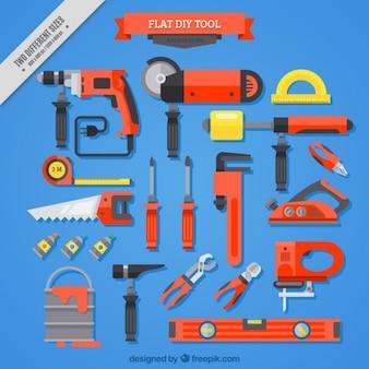 Fundo azul com ferramentas de carpintaria