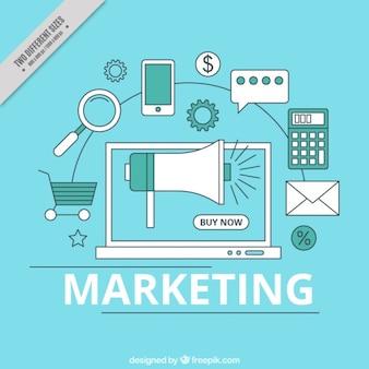 Fundo azul com ferramentas de marketing planas