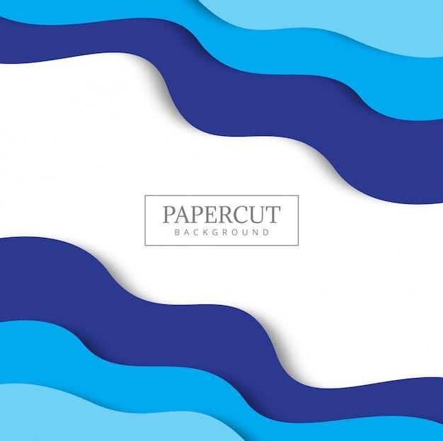 Fundo azul com formas de corte de papel.