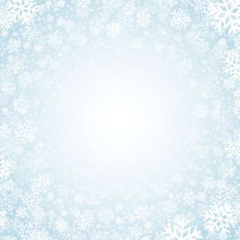 Fundo azul com fundo de flocos de neve