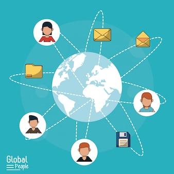 Fundo azul com globo mundial e comunicação global