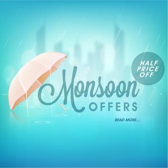 Fundo azul com guarda-chuva para ofertas de monção