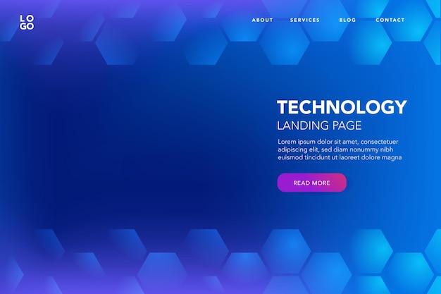 Fundo azul com hexágono de tecnologia