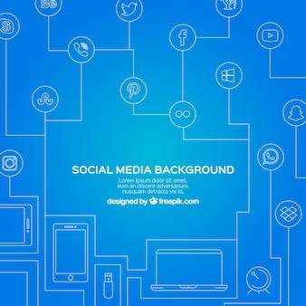 Fundo azul com linhas e ícones de redes sociais