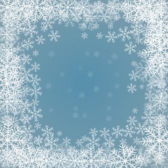 Fundo azul com moldura de flocos de neve
