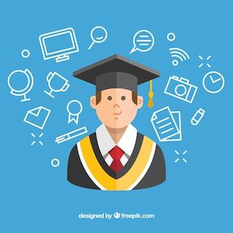 Fundo azul com o estudante e os artigos da graduação