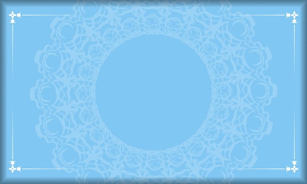Fundo azul com padrão branco vintage e espaço para texto