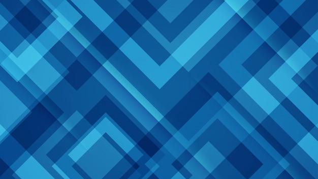 Fundo azul com padrões geométricos.