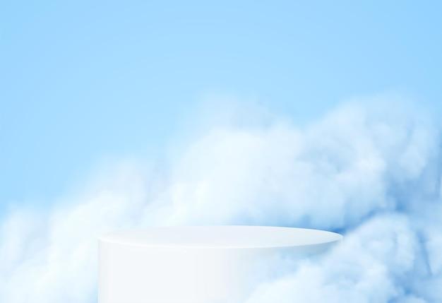 Fundo azul com um pódio de produto rodeado por nuvens azuis.