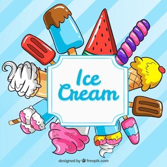 Fundo azul com variedade de sorvetes desenhados à mão