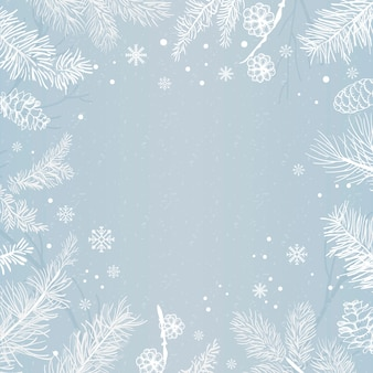 Fundo azul com vetor de decoração de inverno