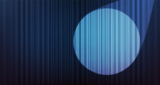 Fundo azul da cortina do vintage com luz da fase, qualidade da altura e estilo moderno.