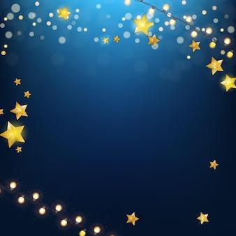 Fundo azul da festa do feriado do natal. feliz ano novo e modelo de cartaz de feliz natal. ilustração vetorial