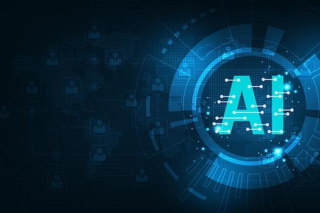 Fundo azul da interface do sistema operacional inteligente ai