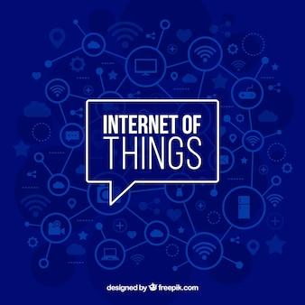 Fundo azul da internet das coisas