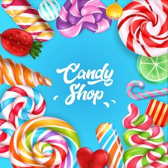 Fundo azul da loja de doces emoldurado por doces coloridos e pirulitos