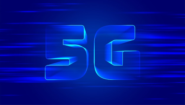 Fundo azul da quinta geração de tecnologia 5g