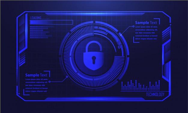 Fundo azul da tecnologia futura do circuito do cyber de hud