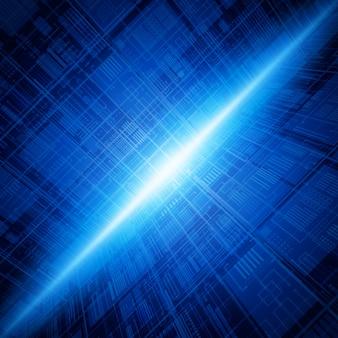 Fundo azul das conexões da tecnologia abstrata da base de dados.