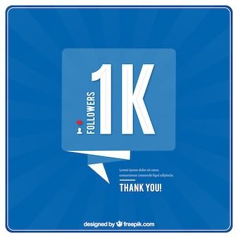 Fundo azul de 1000 seguidores com bolhas de discurso