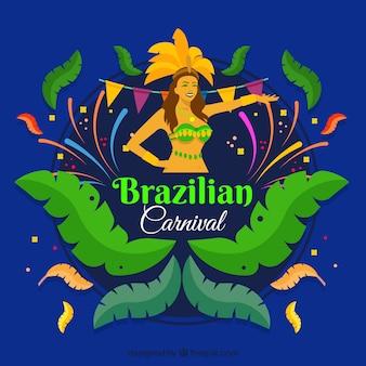 Fundo azul de carnaval brasileiro