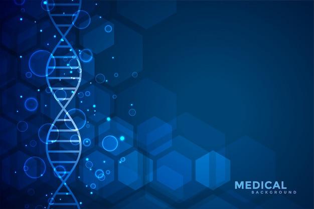 Fundo azul de dna azul de medicina e saúde