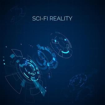 Fundo azul de ficção científica futurista. elemento hud. painel de controle do ciberespaço abstrato de techno.