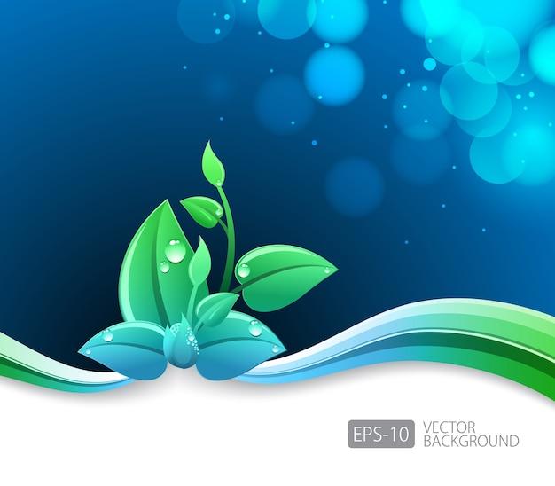Fundo azul de iluminação com eco folhas e onda verde