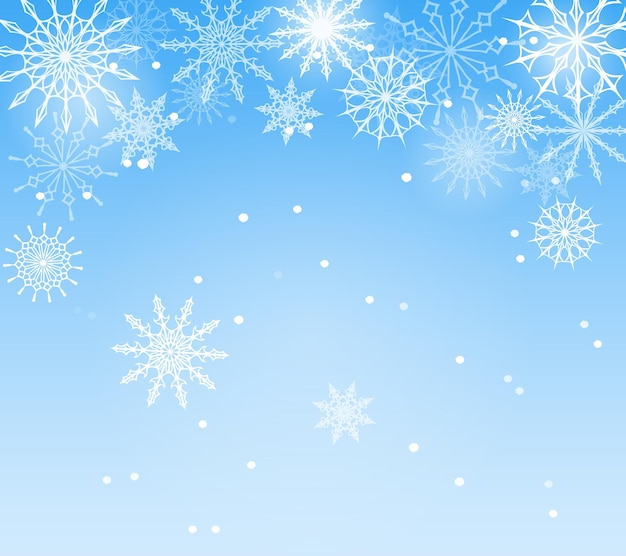 Fundo azul de inverno com flocos de neve
