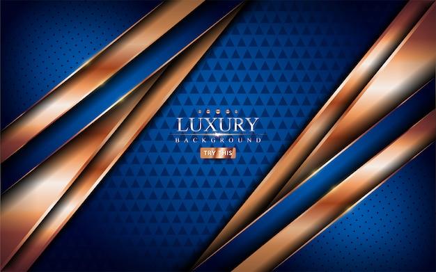 Fundo azul de luxo com linhas douradas brilhantes.