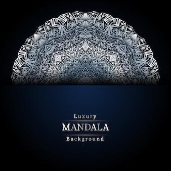 Fundo azul de mandala de luxo