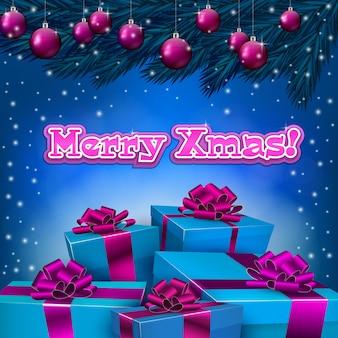 Fundo azul de natal com caixas de presentes