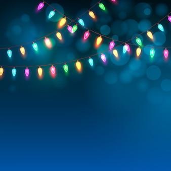 Fundo azul de natal com luzes, cartão de felicitações