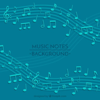Fundo azul de pentagrama com notas musicais