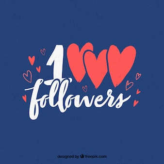Fundo azul de seguidores de 1k com corações