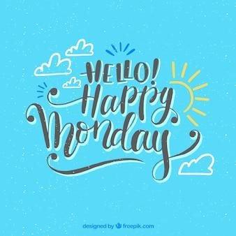 Fundo azul de segunda-feira feliz com desenho de sol e nuvens