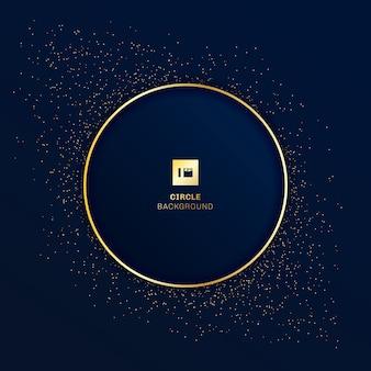 Fundo azul distintivo redondo ouro