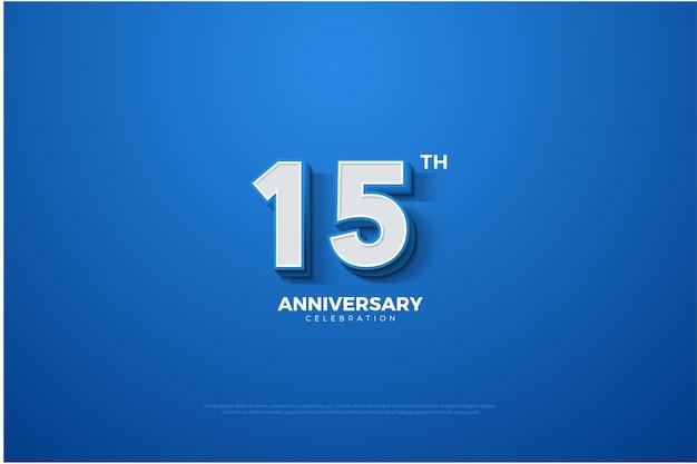 Fundo azul do 15º aniversário com letras e números brancos