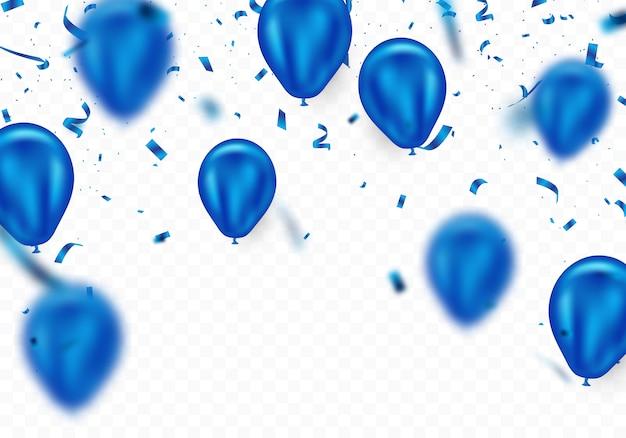 Fundo azul do balão e confetes, maravilhosamente arranjado para decorar várias festas de celebração