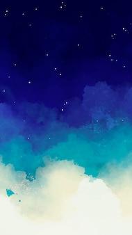 Fundo azul do céu estrelado em aquarela
