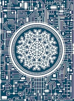 Fundo azul do chipset de natal com um enorme floco de neve branco no centro. bandeira do conceito de tecnologia de férias futuristas. ilustração horizontal de alta tecnologia em vetor ano novo.